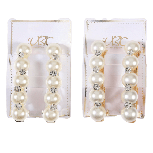 Pearl Barrettes with Small Rhinestones