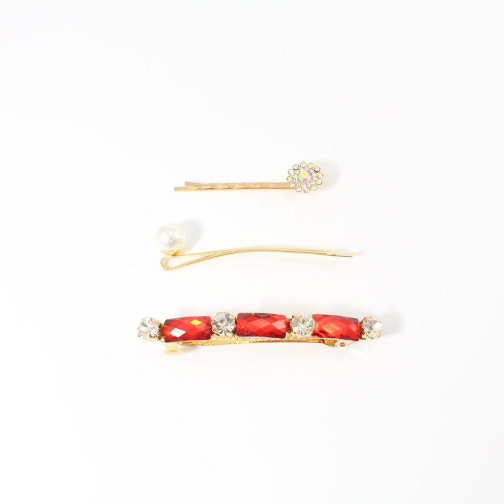Unlimited Beauty Care Barrettes Red Jewel Hair Barrette with Pin Set