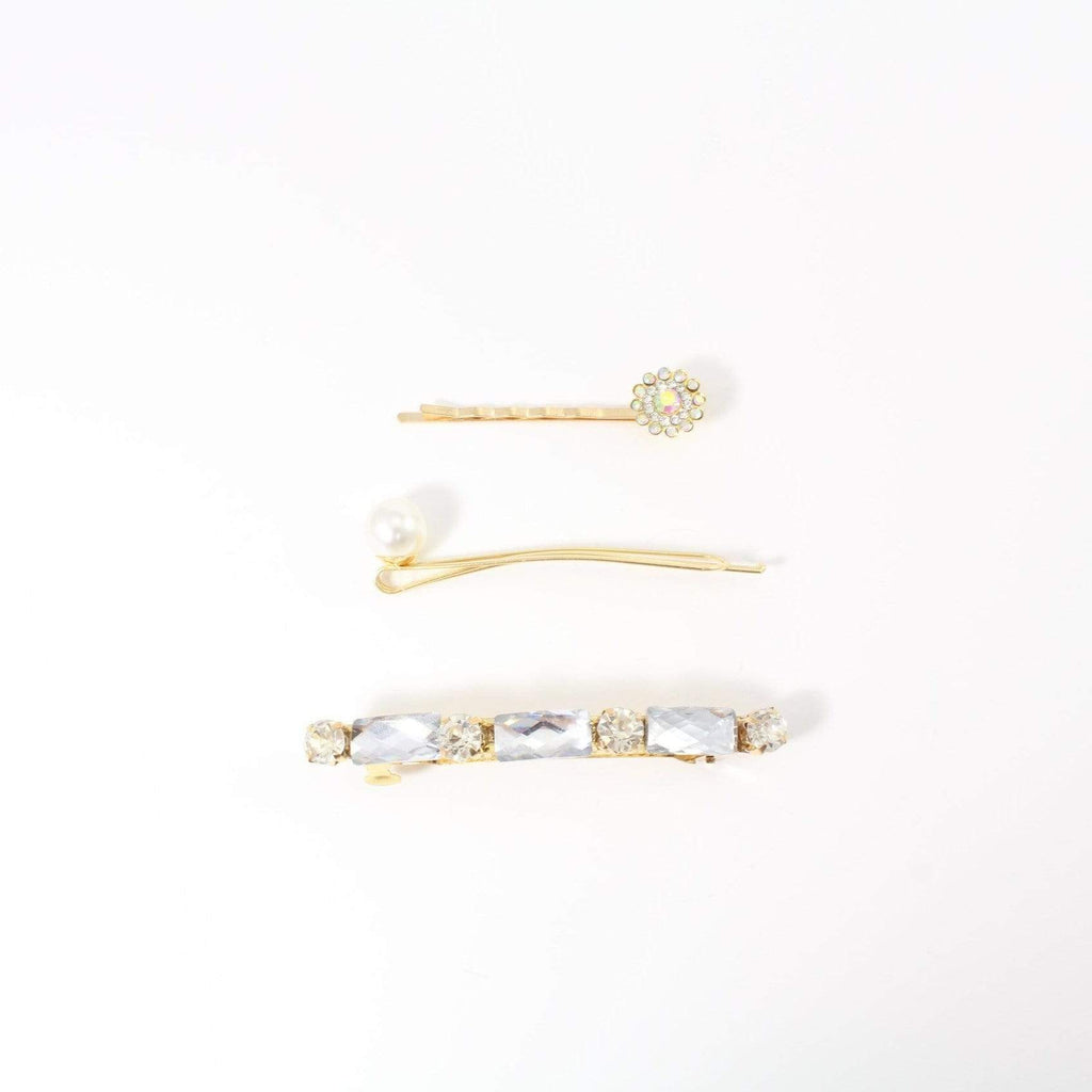 Unlimited Beauty Care Barrettes Silver Jewel Hair Barrette with Pin Set