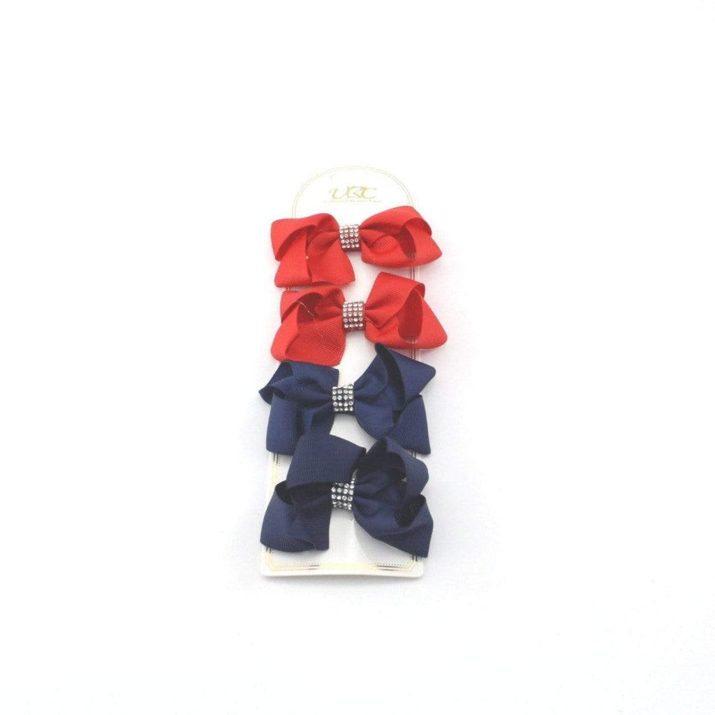 Unlimited Beauty Care Hair Clips 1 - Red/Navy Rhinestone Charm Hair Bow Clips