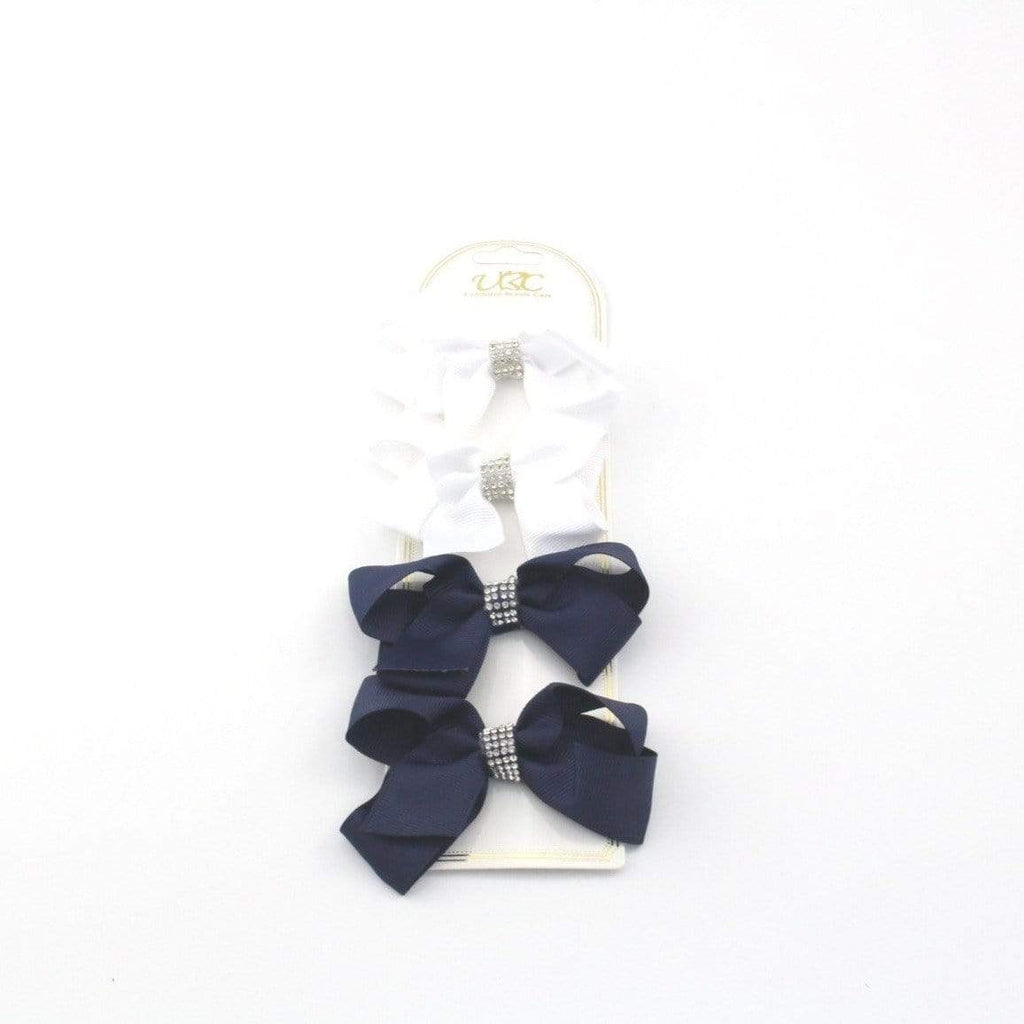 Unlimited Beauty Care Hair Clips 2 - White/Navy Rhinestone Charm Hair Bow Clips