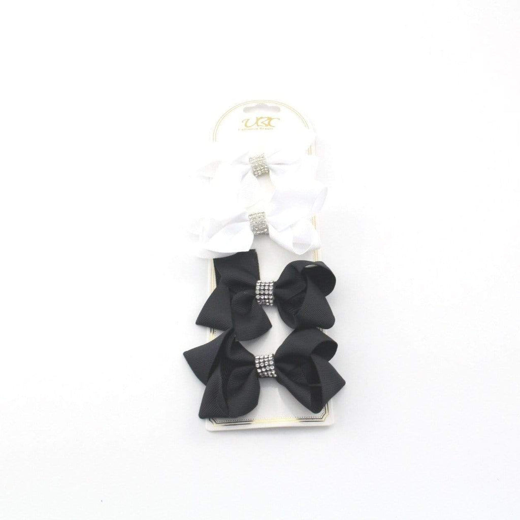 Unlimited Beauty Care Hair Clips 3 - White/Black Rhinestone Charm Hair Bow Clips