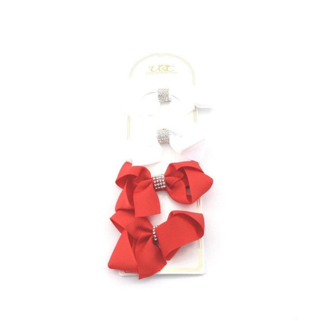 Unlimited Beauty Care Hair Clips 4 - White/Red Rhinestone Charm Hair Bow Clips