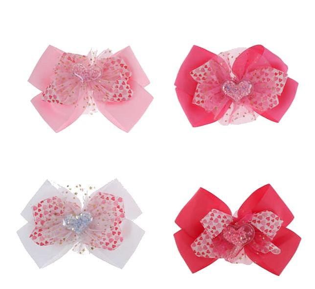 Unlimited Beauty Care Hair Clips Heart Laced Bow Clips