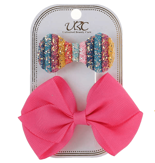Unlimited Beauty Care Hair Clips Hot Pink Rainbow Hair Clip Set