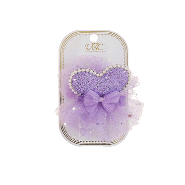 Unlimited Beauty Care Hair Clips Purple Heart + Pearl Hair Clip Set