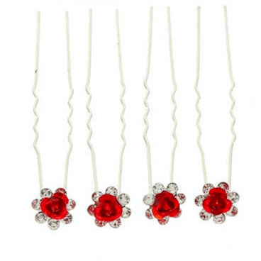 Unlimited Beauty Care Hair Pins Red Flower Decorative Hair Pins