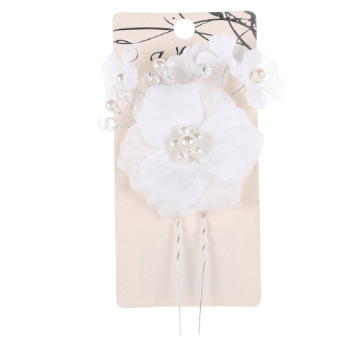 White Flower Hair Pin with Pearls