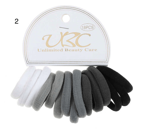 Unlimited Beauty Care Hair Ties Black/Gray/White Multicolor Hair Bands - 18 pieces