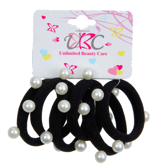 Unlimited Beauty Care Hair Ties Black Ponytail Holders with White Pearls