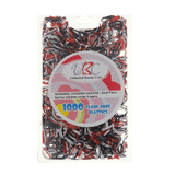 Unlimited Beauty Care Hair Ties Black/Red/White Clasp Free Elastic Rubber Bands - 1000 pieces