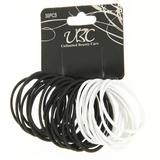 Unlimited Beauty Care Hair Ties Black/White Hair Tie- 30 pieces