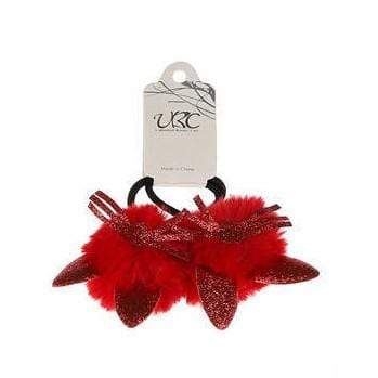 Unlimited Beauty Care Hair Ties Red Cat Ear Pom Pom Hair Tie