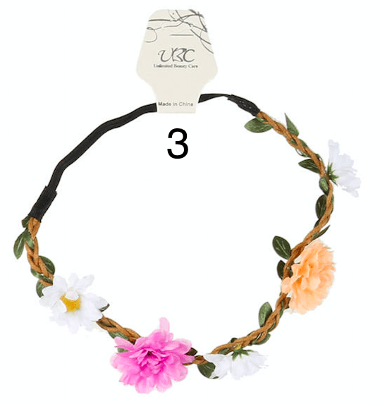 Unlimited Beauty Care Headbands 3 Flowers on Vine Elastic Headband