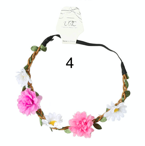 Unlimited Beauty Care Headbands 4 Flowers on Vine Elastic Headband