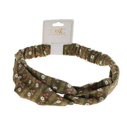 Unlimited Beauty Care Headbands Dark Green Flower Print Twisted Headwrap