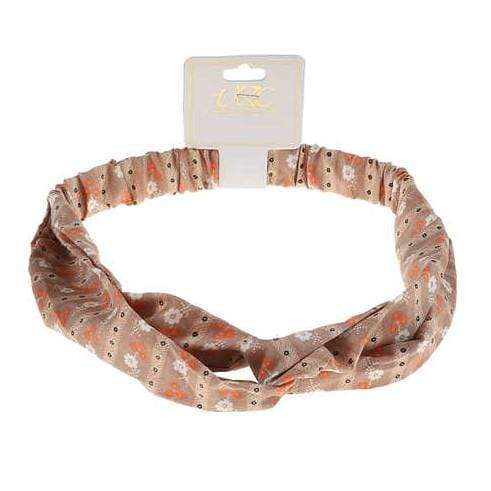 Unlimited Beauty Care Headbands Light Brown Flower Print Twisted Headwrap