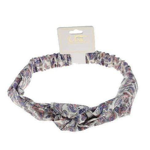 Unlimited Beauty Care Headbands White Paisley Print Twisted Headband