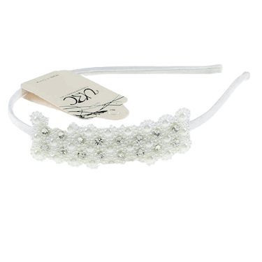 Unlimited Beauty Care Headbands White Rhinestone Embellished Headband With Pearls