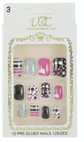 Unlimited Beauty Care Nails 3 Pre-Glued Nails - Multi-Color Patterns (12 pieces)