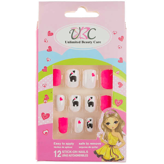 Unlimited Beauty Care Nails Stick-On Nails for Kids - Pink/ Black/White Heart Design