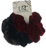 Unlimited Beauty Care Scrunchies 2 - Gray/Navy/Dark Red Multicolor Velvet Scrunchies