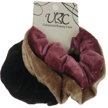 Unlimited Beauty Care Scrunchies 3 - Black/Light Brown/Pink Multicolor Velvet Scrunchies