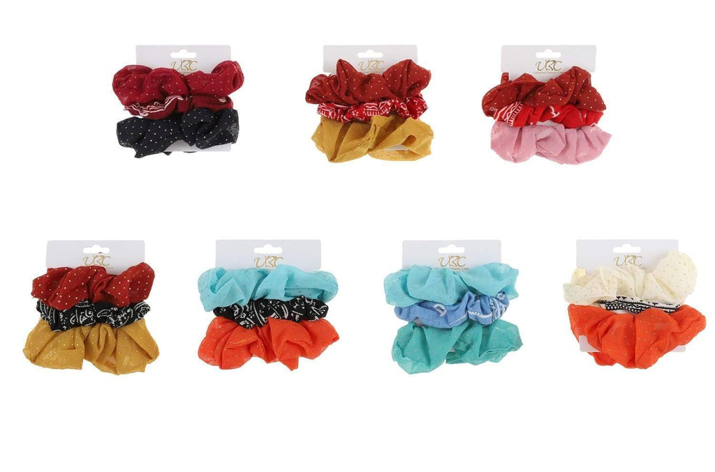 Unlimited Beauty Care Scrunchies 3-Pack Paisley + Solid Scrunchies