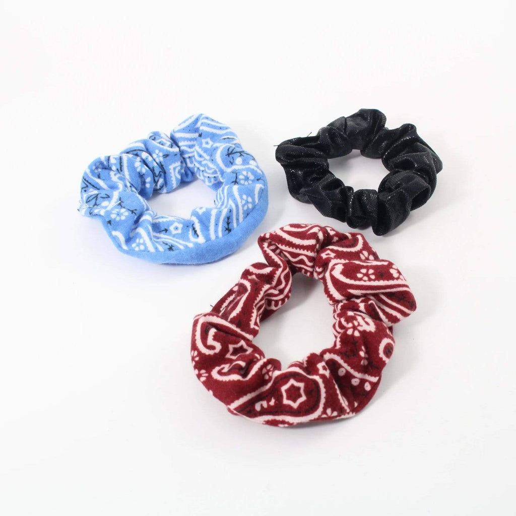 Paisley Design Cotton & Solid Shiny Scrunchies