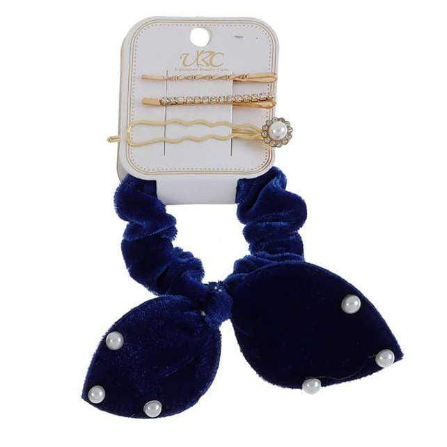 Unlimited Beauty Care Scrunchies Blue Velvet Scrunchies with Pearls + Gold Pins