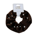 Unlimited Beauty Care Scrunchies Brown Pearl Studded Velvet Scrunchies
