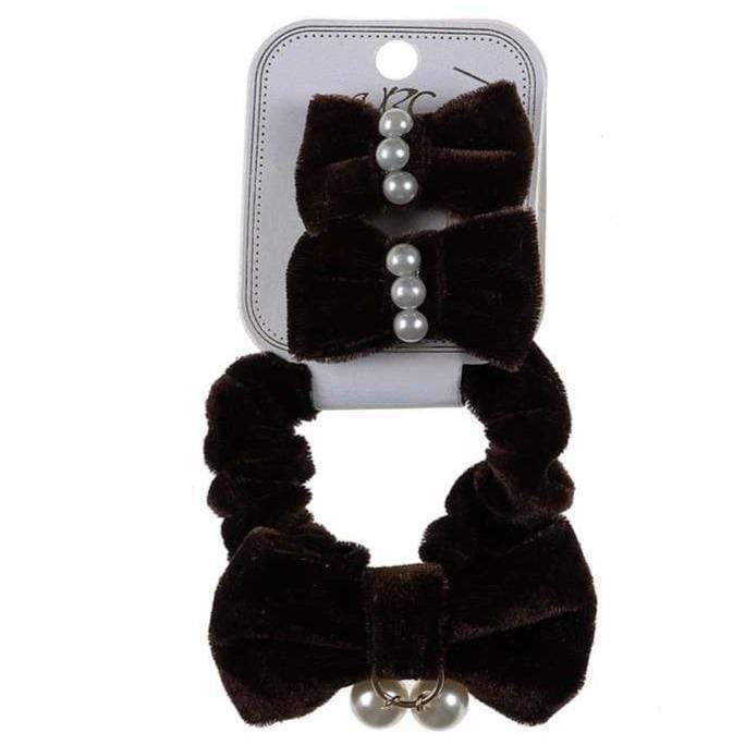 Unlimited Beauty Care Scrunchies Brown Velvet Scrunchies with Pearls + Hair Snaps