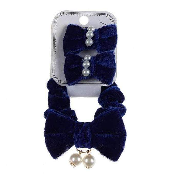 Velvet Scrunchies with Pearls + Hair Snaps