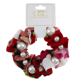 Pearl Studded Flower Scrunchies