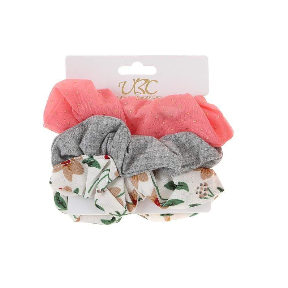 Unlimited Beauty Care Scrunchies Set 1 3-Pack Flower + Solid Scrunchies