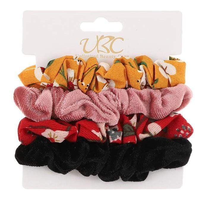 Unlimited Beauty Care Scrunchies Set 1 4-Pack Flower + Solid Velvet Scrunchies