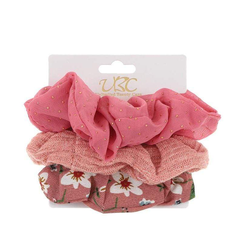 Unlimited Beauty Care Scrunchies Set 2 3-Pack Flower + Solid Scrunchies