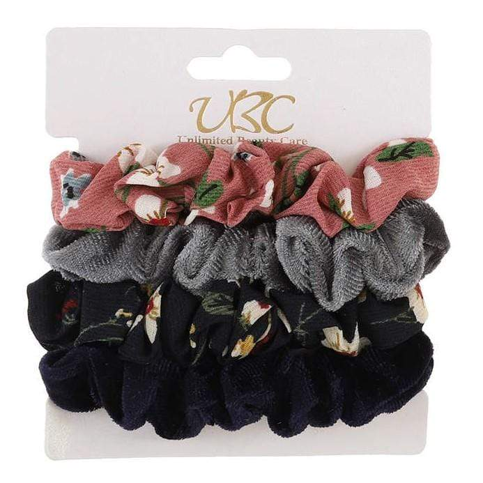 Unlimited Beauty Care Scrunchies Set 2 4-Pack Flower + Solid Velvet Scrunchies