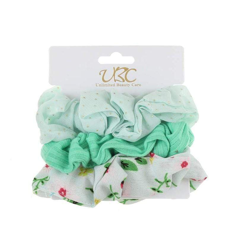 Unlimited Beauty Care Scrunchies Set 4 3-Pack Flower + Solid Scrunchies