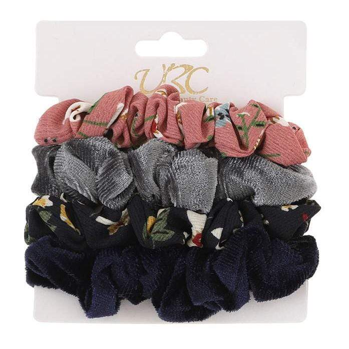 Unlimited Beauty Care Scrunchies Set 4 4-Pack Flower + Solid Velvet Scrunchies