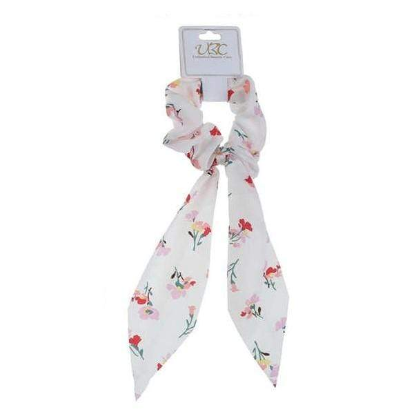 Unlimited Beauty Care Scrunchies White Flower Printed Pony Scarf