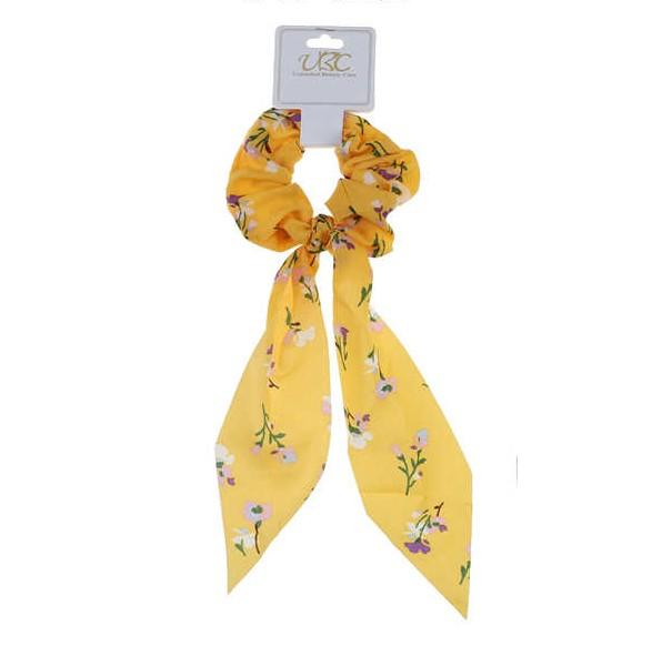 Unlimited Beauty Care Scrunchies Yellow Flower Printed Pony Scarf