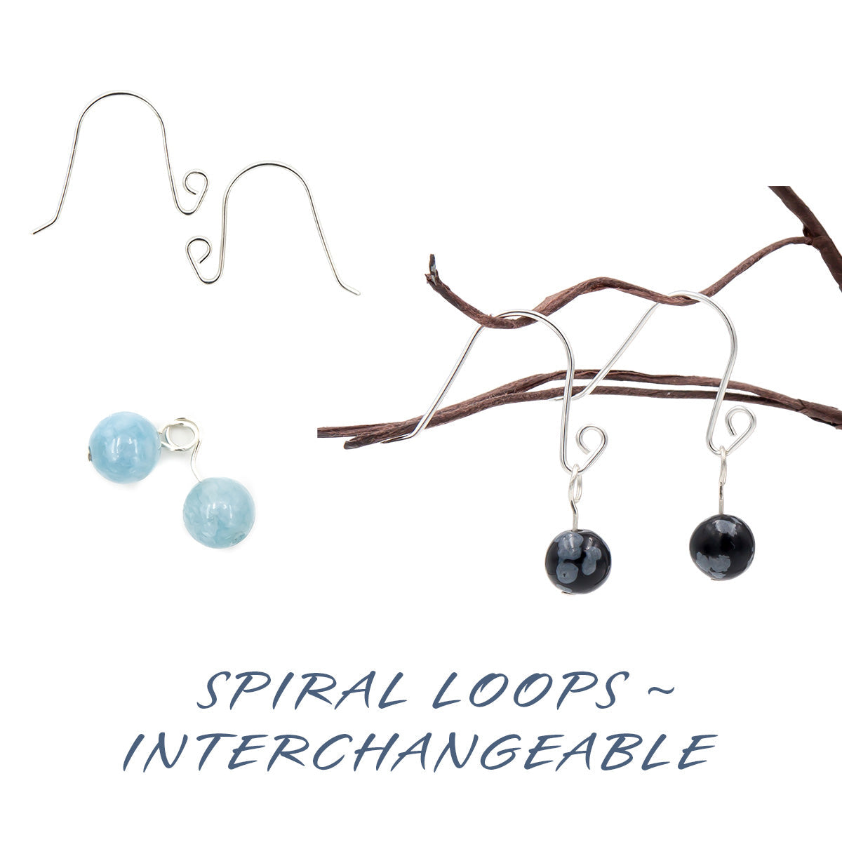 Handmade Sterling Silver spiral loops interchangeable earrings
