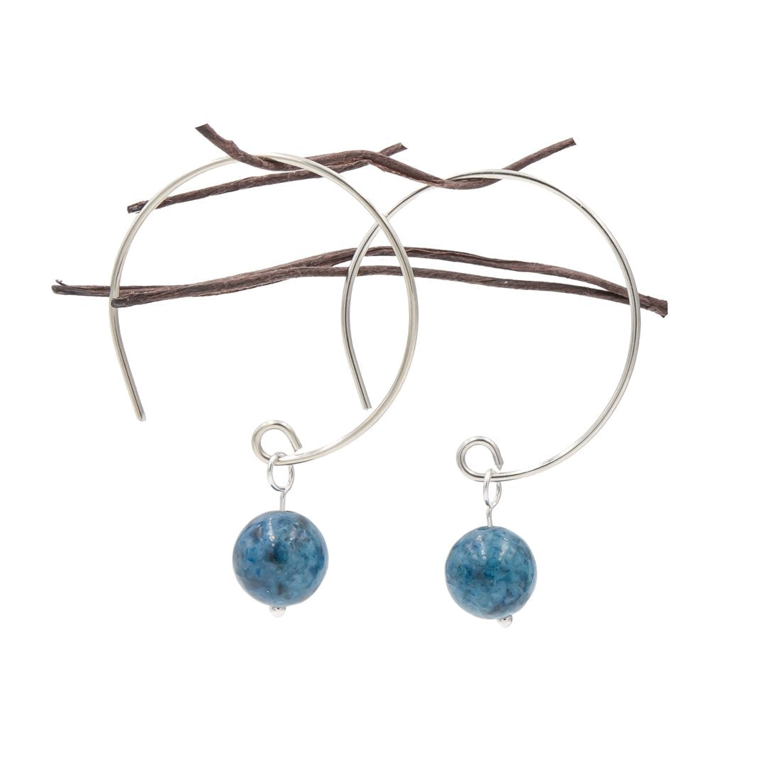 Denim Lapis Hoop Curves Sterling Silver Handmade Earrings
