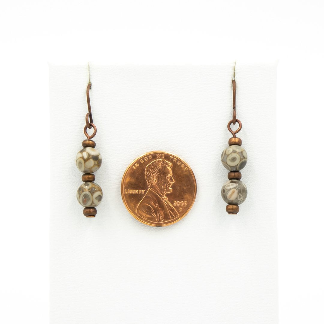 Handmade Fossils On Copper Earrings Size