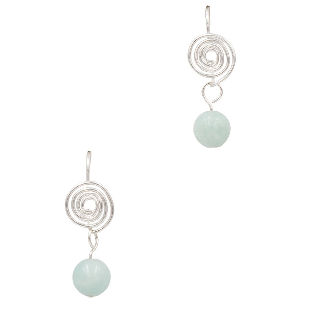 Amazonite Sterling Silver Coil Earrings Handmade