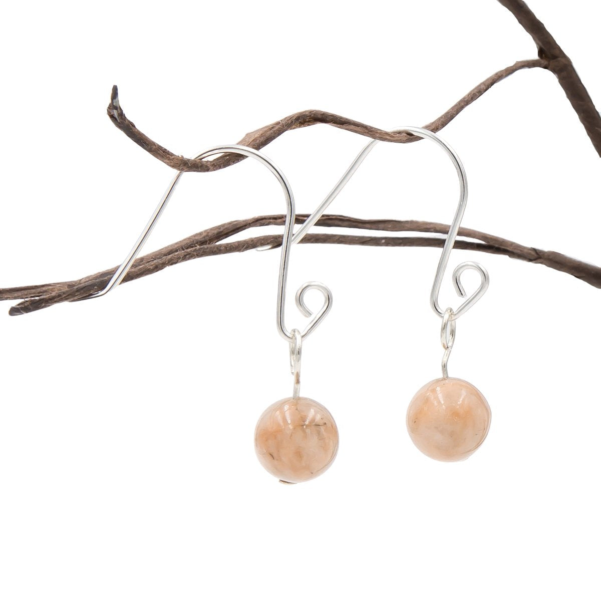 Handmade Peach Moonstone Spiral Loops Interchangeable Sterling Silver Earrings