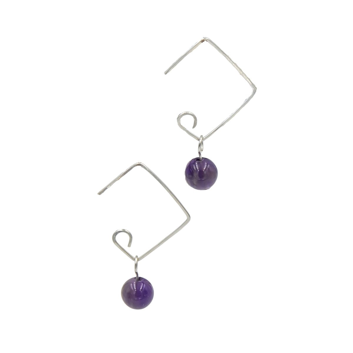 Modern Hammered Sterling Silver Amethyst Square Earrings