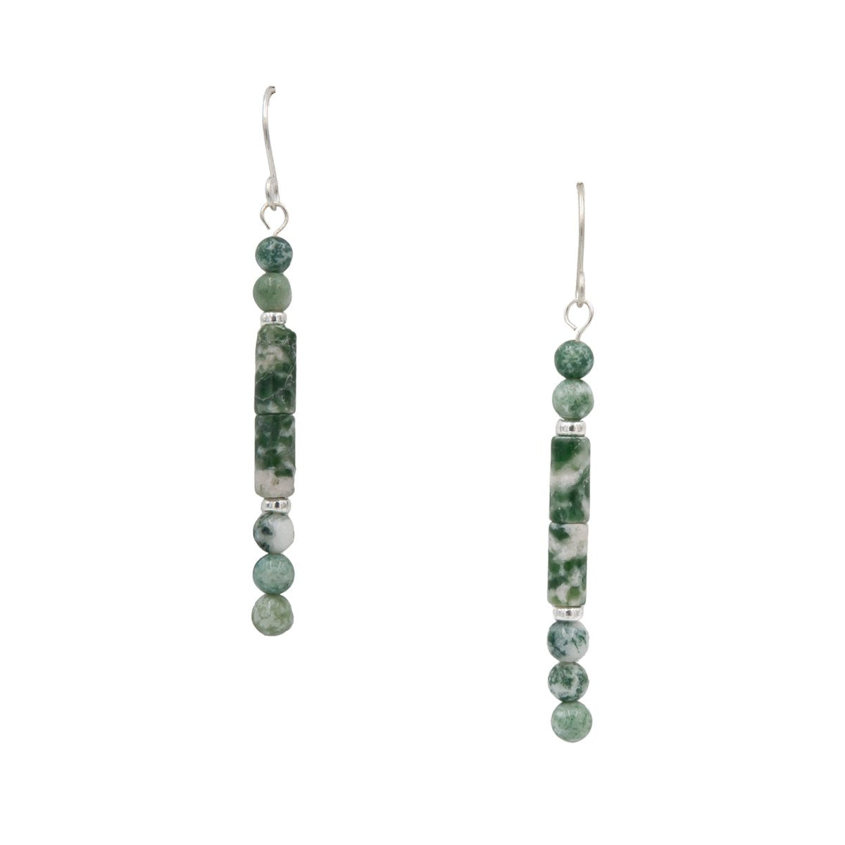 Sterling silver tree agate handmade earrings