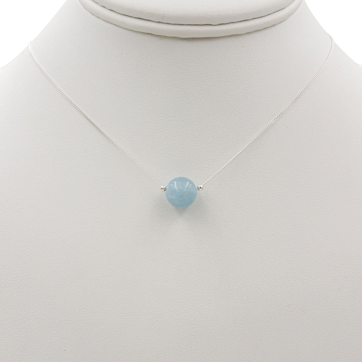 Handmade Sterling Silver Aquamarine Solitaire Necklace